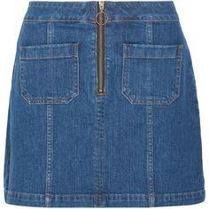 Madewell Denim mini skirt (€115) ❤ liked on Polyvore featuring skirts, mini skirts, madewell, bottoms, faldas, madewell skirts, short skirts, stretch skirt, stretch mini skirt and denim miniskirt
