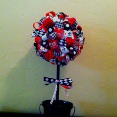 Black, white and red ribbon topiary