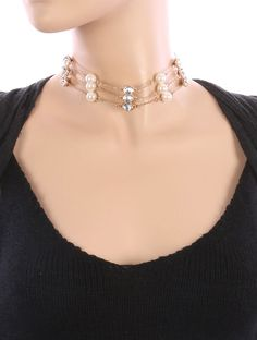 New Necklace Pearl Elegance Three Layer With Crystal Stone Choker Gold  #SP #Choker