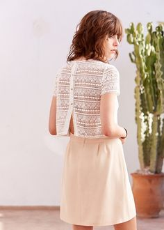I can't get away from white lace, I have it in multiple pieces, but I love it. Sézane - Nine Dress Blouse Dress, Dress Skirt, Dress Up, Styles P, Blouse Styles, Mode Inspiration, Mode Style, All About Fashion, Beautiful Outfits