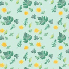 leaves and suns pattern by Kellie Jayne Illustration