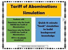 "Tariff of Abominations ""Simulation"" - Hook Activity"