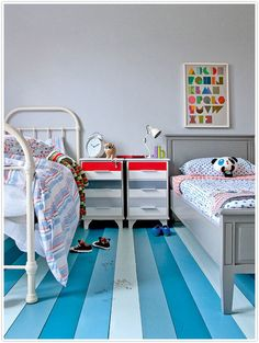 love this idea for a shared boy/girl room...  just go ahead and mix and match the feminine and the masculine.  so stinkin' cute!