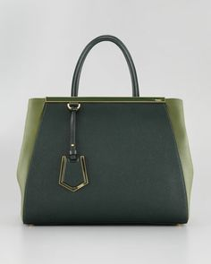 Really starting to like this Fendi 2Jours Calfskin Tote. and this forest green is just TO DIE!!