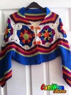 How to Knit Socks With Cables Tutorial 201 Knitting Honeycomb Stitch Pattern - Crochet Sphere Crochet Bolero, Cardigan Au Crochet, Pull Crochet, Mode Crochet, Crochet Coat, Crochet Jacket, Diy Crafts Crochet, Rainbow Crochet, Crochet Edgings