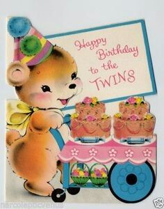 Bear Pushing Twin Cakes Vintage Birthday Cards Birthday Cards For Twins Vintage Birthday
