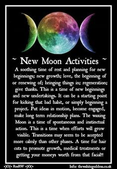 new moon ritual New Moon Activities Witches Of The Craft New Moon Activities Witches Of The Craft Jennifer Hall, New Moon Rituals, Full Moon Ritual, Moon Activities, Craft Activities, Moon Spells, Magic Spells, Wicca Witchcraft, Wiccan Books