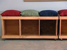 How to Build a Rolling Storage Bench   Carter Oosterhouse ... add small shelf for basket to hold gloves etc and its perfect