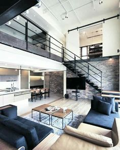 Modern style home decor bachelor pad masculine interior design 3 loft home loft apartment decorating modern Interior Design Minimalist, Modern House Design, Home Interior Design, Interior Architecture, Apartment Interior, Apartment Design, Apartment Living, Apartment Goals, Modern Loft Apartment
