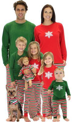 SleepytimePjs Christmas Family Matching Pajamas (FM Stripes, W-Set-Med)