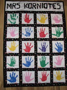 hand-print quilt - awesome teacher  idea ....wink wink