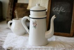 Vintage French Style Enamelware Coffeepot (Biggin) with Rose Detail