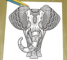 Exquisite Elephant Coloring page Adult par DreamStateStudio