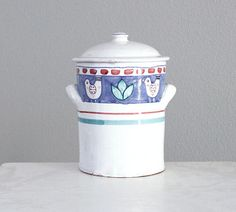 SALE Solimene Vietri Campana Ceramic Canister  with Birds - Vintage Blue White Italian Pottery