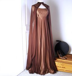 If this was cream instead of brown it would be absolutely PERFECT  //  Vintage ALFRED BOSAND dress & cape/ silk chiffon by Vintagiality, $380.00