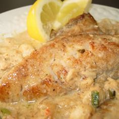 Rockfish with Crab and Old Bay Cream Sauce Recipe - Allrecipes.com. Made this for john's b-day and it was amazing!  Definitely a keeper!