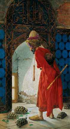 """The Tortoise Trainer"" by Osman Hamdi Bey, Pera Museum, İstanbul. Osman Hamdi Bey – 24 February was an Ottoman statesman, intellectual, art expert and also a prominent and pioneering Turkish painter. Art And Illustration, Google Art Project, Turkish Art, Turkish Style, Arabic Art, Ottoman Empire, Islamic Art, Art Google, Oeuvre D'art"
