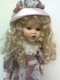 """PRETTY PORCELAIN 16"""" DOLL, BLONDE LONG CURLY HAIR, LAVENDER FLORAL OUTFIT #BRINNS"""