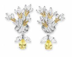 "Diamond and sapphire ""Ribbon"" ear pendants by Jean Schlumberger"