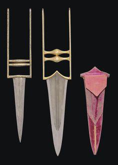 TWO GOLD DAMASCENED PUSH DAGGERS (KATARS) NORTH INDIA, 18TH CENTURY   Christie's