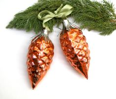 Pine Cones Christmas Glass Ornament Tree Yellow Orange Christmas Decorations Set of 2 Vintage Mercury Glass Pine Cone Soviet vintage 1970s