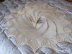 Begonia Swirl shawl in lace wt yarn - free pattern on Ravelry