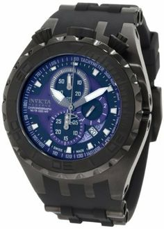 Invicta Men's 0891 Reserve Chronograph Blue and Black Dial Black Polyurethane Watch Invicta. $235.29. Blue and black dial with black and white hands and hour markers; luminous; unidirectional stainless steel bezel with matte black ring; tachymeter on dial edge; black screw-down crown and pushers positioned at 12:00. Flame-fusion crystal; brushed black ion-plated stainless steel case; black polyurethane strap with black ion-plated stainless steel accents. Swiss...