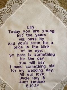 Keepsake handkerchief with a sweet poem as a gift for the flower girl