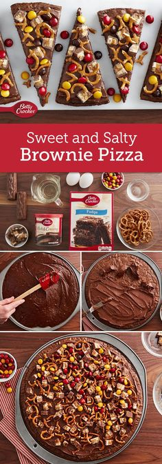 Sweet meets salty in this incredibly fudgy brownie pizza. A perfect treat for your next party that will please the whole crowd! (Christmas Drinks For A Crowd) Just Desserts, Delicious Desserts, Dessert Recipes, Yummy Food, Fun Recipes, Fall Desserts, Recipe Ideas, Brownie Pizza, Brownie Pops