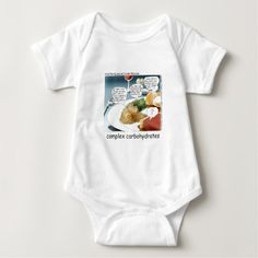 Way too #ComplexCarbohydrates #Funny #onesie by @LTCartoons  & @zazzle @pinterest #humor #cartoon #philosophy #foodies #health #sale #gift #infant #baby #sale #gift