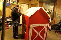 barn made from a refrigerator box