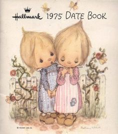 """Hallmark 1975 """"The wistful waifs of artist Betsy Clark appear on greeting cards and numerous other Hallmark products"""" we had a Bunch of these! reminds me of """"Precious Moments"""" line. Clark Art, Hallmark Cards, Childhood Days, Holly Hobbie, Illustrations, Great Memories, Vintage Cards, Nostalgia, Old Things"""