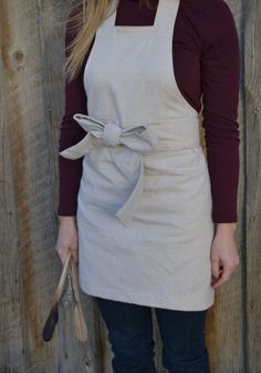 Natural Apron  Christmas Gift  Thanksgiving by PearlsAndPetitFours, $40.00