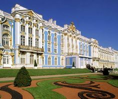 """Catherine Palace, Outside St. Petersburg, Russia. """"Named for Catherine I, the wife of Peter the Great, this way-way-over-the-top 18th-century palace, with its distinctive blue façade, was built mostly by her spendthrift daughter, Empress Elizabeth."""""""