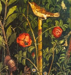 hyperealism: 1st century AD, Roman garden painting [detail]; in Casa del Bracciale d'Oro, Pompeii.