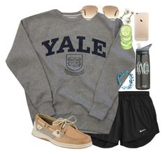 """Yale"" by lauren-hailey ❤ liked on Polyvore featuring NIKE, Sperry Top-Sider, Me to We and Ray-Ban"