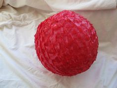 Ships in April / Cherry red plastic ribbon shade / spun plastic light shade / retro ceiling lamp shade / spaghetti gumball lamp shade Vintage Lamps, Vintage Items, Cool Table Lamps, Ceiling Lamp Shades, Mid Century Lighting, Gumball, Cherry Red, Light Shades, Raspberry