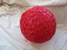 Ships in April / Cherry red plastic ribbon shade / spun plastic light shade / retro ceiling lamp shade / spaghetti gumball lamp shade