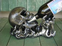 skull home decor | Skeleton Hand Wine Bottle Holder Gothic Halloween House Home Decor ...