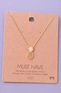 Pineapple Pendant Necklace - Gold