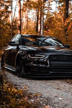 Slammed Audi A4 black.