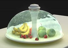"This project goes by the name of ""Water Shade"" and keeps a shield of H2O around the fruit it is sworn to protect. It's both a dish and a cover, working with water to keep freshness in and everything larger than Oxygen OUT! Designer Yitu Wang doesn't want to keep you from your delicious apples though, so there's a built in detector that sees your hand in approach, and thus is does desist."