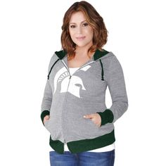 Michigan State Spartans G-III Sports by Carl Banks Women's Maternity Hat Trick Full-Zip Hoodie - Gray - $47.99