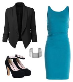 """Black/Teal"" by liniki on Polyvore featuring Velvet and LE3NO"