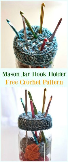 Mason Jar Crochet Hook Holder Free Pattern-#Crochet #HookCase & Holders Free Patterns