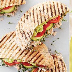 healthy dinner ideas: avocado, alfafa sprouts, cucumber, and tomato panini