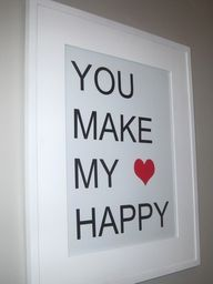 I have something similar hanging in our master bathroom to remind Dustin everyday that he holds my heart. : )