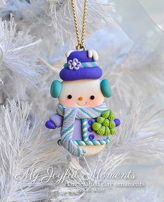 Ornamento de muñeco de nieve de arcilla por MyJoyfulMoments en Etsy