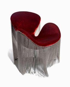 Metallic Fringe on Velvet chair by Kelly Hoppen