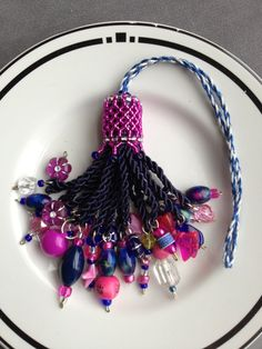 Beaded Tassel Dark Blue & Hot Pink by AMRDesignsCo on Etsy